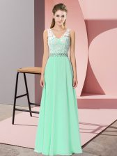Colorful Apple Green V-neck Neckline Beading Prom Evening Gown Sleeveless Lace Up