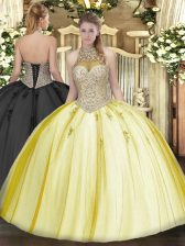 Yellow Lace Up Halter Top Beading and Appliques Sweet 16 Dress Tulle Sleeveless