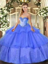 Popular Blue Lace Up Sweetheart Beading and Ruffled Layers Quinceanera Gown Tulle Sleeveless