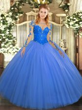 Scoop Long Sleeves Lace Up Quinceanera Gowns Blue Tulle