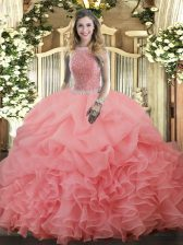 Super Watermelon Red High-neck Neckline Beading and Ruffles and Pick Ups Ball Gown Prom Dress Sleeveless Lace Up