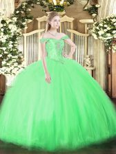 Sleeveless Floor Length Beading Lace Up 15th Birthday Dress