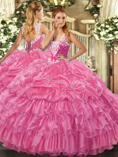 Glorious Sleeveless Lace Up Floor Length Beading and Ruffled Layers and Pick Ups Quinceanera Dress