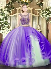 Lavender Scoop Neckline Beading and Ruffles Quinceanera Gown Sleeveless Lace Up