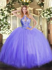 Customized Sleeveless Tulle Floor Length Lace Up 15 Quinceanera Dress in Lavender with Beading