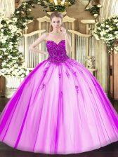 Fuchsia Tulle Lace Up Vestidos de Quinceanera Sleeveless Floor Length Beading