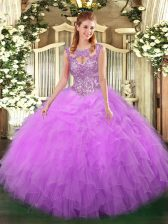 Floor Length Lilac Quinceanera Dress Scoop Sleeveless Lace Up