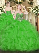 Delicate Organza Sleeveless Floor Length Quinceanera Gowns and Beading and Ruffles
