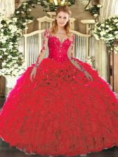 Red Sleeveless Floor Length Lace and Ruffles Lace Up Ball Gown Prom Dress