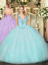Sleeveless Ruffles Lace Up Quince Ball Gowns