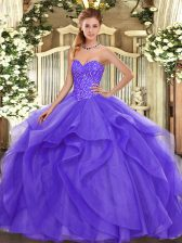 Great Beading and Ruffles Quinceanera Dress Lavender Lace Up Sleeveless Floor Length
