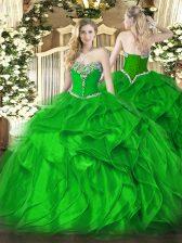 Green Sleeveless Floor Length Beading and Ruffles Lace Up Sweet 16 Dress