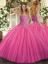 Fitting Hot Pink Tulle Lace Up Sweetheart Sleeveless Floor Length Quinceanera Dress Beading