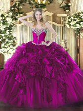 Fuchsia Sleeveless Organza Lace Up Quinceanera Gown for Military Ball and Sweet 16 and Quinceanera