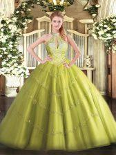 Yellow Green Halter Top Lace Up Beading Vestidos de Quinceanera Sleeveless