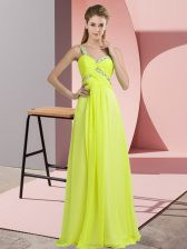 Colorful Yellow Green Sleeveless Chiffon Lace Up Evening Dress for Prom and Party