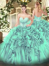 Beauteous Turquoise Sweetheart Neckline Beading and Ruffles Quinceanera Dress Sleeveless Lace Up