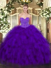 Noble Purple Lace Up Sweetheart Beading and Ruffles Quinceanera Dresses Organza Sleeveless