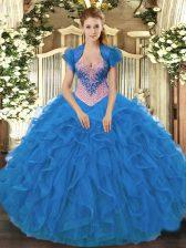 Charming Sweetheart Sleeveless Quinceanera Dress Floor Length Beading and Ruffles Blue Organza