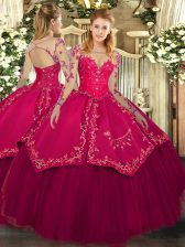 Deluxe Scoop Long Sleeves Lace Up Quinceanera Dresses Wine Red Organza and Taffeta