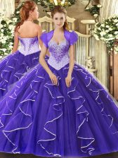 Flare Cap Sleeves Tulle Floor Length Lace Up Ball Gown Prom Dress in Purple with Beading