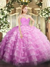 On Sale Floor Length Zipper Quince Ball Gowns Rose Pink for Military Ball and Sweet 16 and Quinceanera with Beading and Lace and Ruffled Layers
