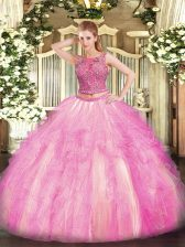 Artistic Floor Length Two Pieces Sleeveless Rose Pink Quinceanera Gown Lace Up