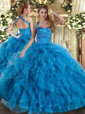 Top Selling Blue Halter Top Neckline Ruffles Quince Ball Gowns Sleeveless Lace Up