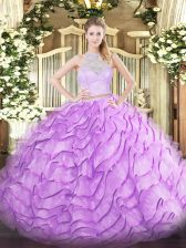 Sleeveless Brush Train Lace and Ruffles Zipper 15th Birthday Dress