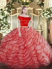 Extravagant Coral Red Zipper Ball Gown Prom Dress Ruffled Layers Short Sleeves Brush Train