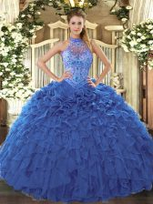 Blue Ball Gowns Beading and Embroidery and Ruffles 15 Quinceanera Dress Lace Up Organza Sleeveless Floor Length