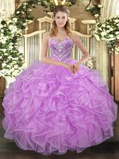 Lilac Sweetheart Lace Up Beading Quinceanera Gowns Sleeveless
