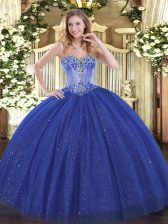 Eye-catching Royal Blue Lace Up Sweetheart Beading Quinceanera Gown Sequined Sleeveless