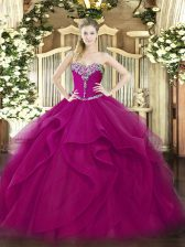 Fuchsia Sweet 16 Dress Military Ball and Sweet 16 and Quinceanera with Beading and Ruffles Sweetheart Sleeveless Lace Up