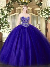 Clearance Sleeveless Floor Length Beading Lace Up Quinceanera Gown with Blue