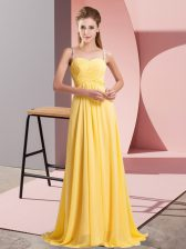 Floor Length Lace Up Prom Dresses Gold for Prom and Party with Ruching