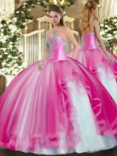 Luxury Fuchsia Sleeveless Floor Length Beading and Ruffles Lace Up Quince Ball Gowns