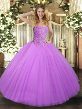 Low Price Lilac Quince Ball Gowns Military Ball and Sweet 16 and Quinceanera with Beading Sweetheart Sleeveless Lace Up