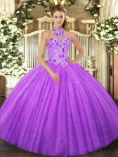 New Style Floor Length Lace Up Ball Gown Prom Dress Lavender for Military Ball and Sweet 16 and Quinceanera with Beading