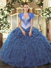 Fantastic Organza Sleeveless Floor Length Ball Gown Prom Dress and Beading and Ruffles