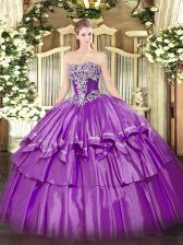 Sophisticated Sleeveless Beading and Ruffled Layers Lace Up Quince Ball Gowns