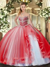 Cheap Floor Length Ball Gowns Sleeveless Coral Red Ball Gown Prom Dress Lace Up