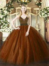 Low Price Brown Sweet 16 Dress Military Ball and Sweet 16 and Quinceanera with Beading Straps Sleeveless Zipper