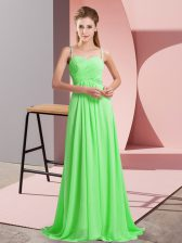 Luxury Sleeveless Beading Criss Cross Prom Gown