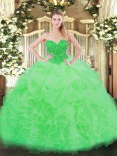 Apple Green Ball Gowns Ruffles Vestidos de Quinceanera Lace Up Organza Sleeveless Floor Length