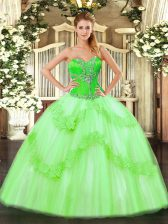 Cheap Tulle Lace Up Ball Gown Prom Dress Sleeveless Floor Length Beading and Ruffles