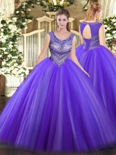 Floor Length Ball Gowns Sleeveless Eggplant Purple Sweet 16 Dresses Lace Up