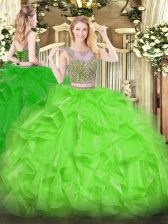 Scoop Sleeveless Organza Quinceanera Gown Beading and Ruffles Lace Up