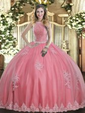 Exceptional Baby Pink Lace Up High-neck Beading and Appliques Ball Gown Prom Dress Tulle Sleeveless
