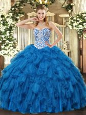 Blue Ball Gowns Beading and Ruffles Quince Ball Gowns Lace Up Tulle Sleeveless Floor Length